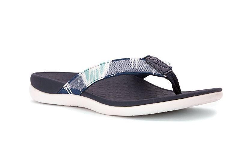 09364ec6b15 Vionic Women s Tide Sequins Sandals Comfort Flip Flop 12-US (M) White Navy.