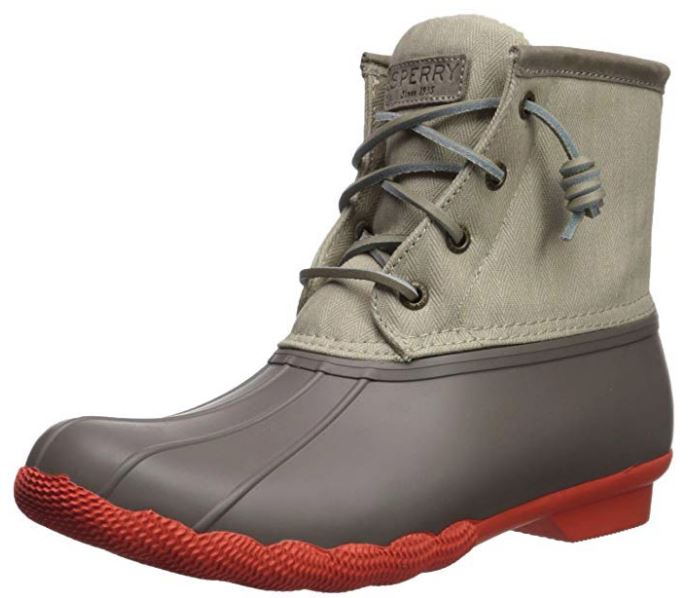 Sperry Woman/'s Duck Boots Saltwater Pop Rain Boot Dark Taupe Tan Orange NIB